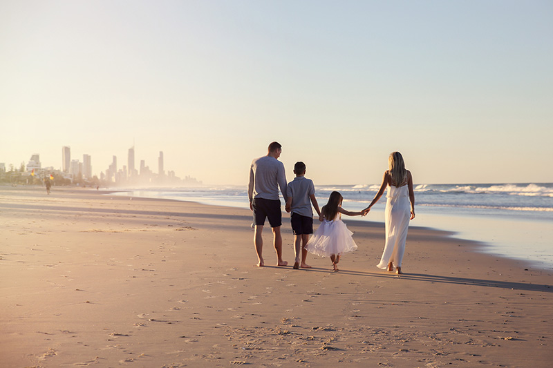 Gold Coast beach with family