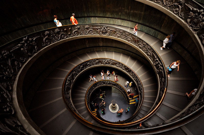 spiral staircase in the Vatican, Italy