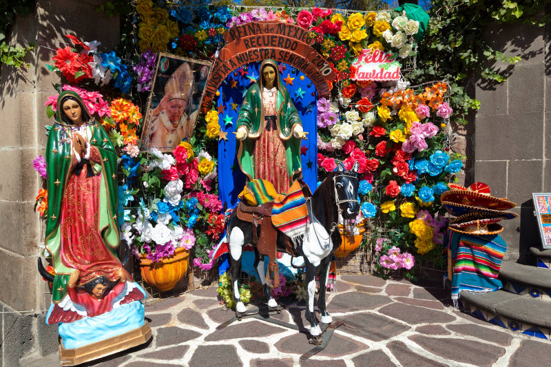 A colourful Christmas shrine in Mexico.
