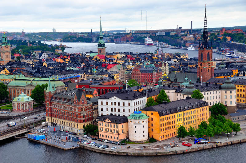 stockholm with harbour and colourful houses