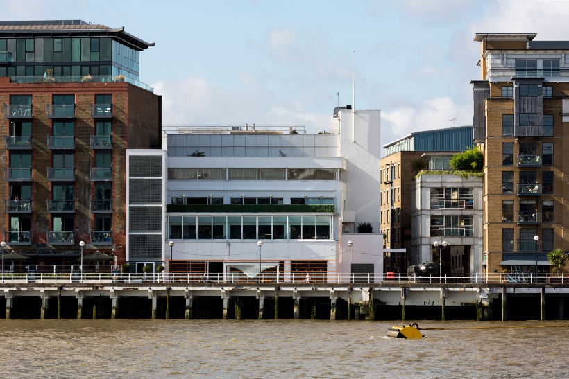 London design museum exterior from across the thames