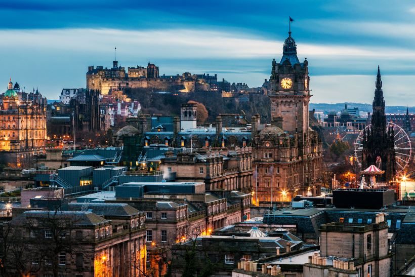Edinburgh after dark with lights on