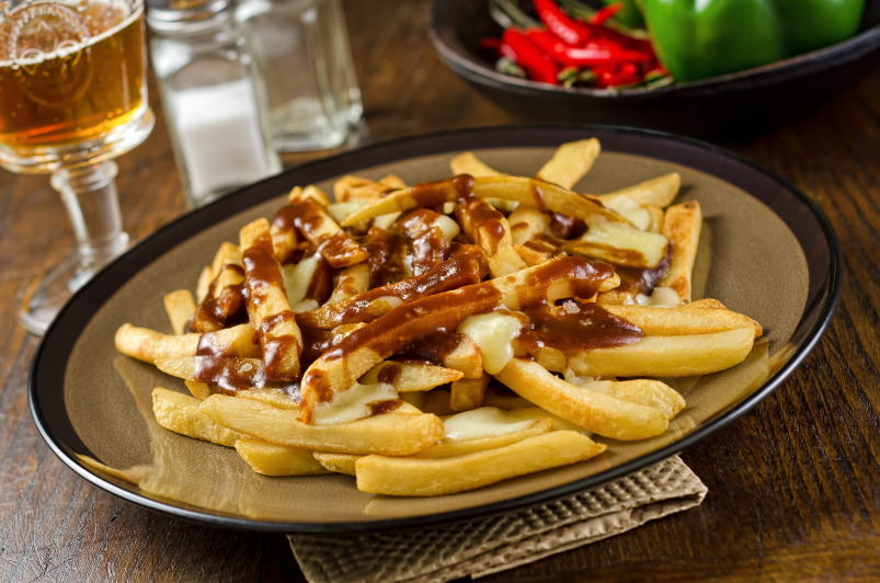 Chips with gravy and cheese on a plate