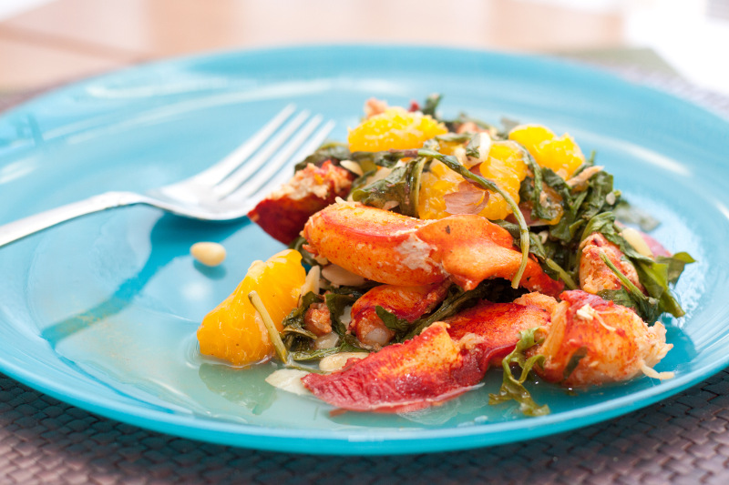 Fresh lobster dish on a blue plate