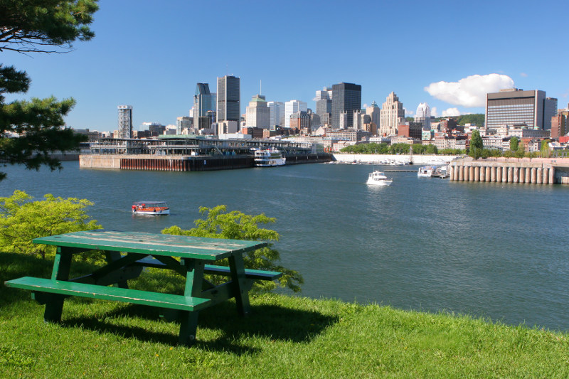 picnic bench overlooking river in Montreal, Canada