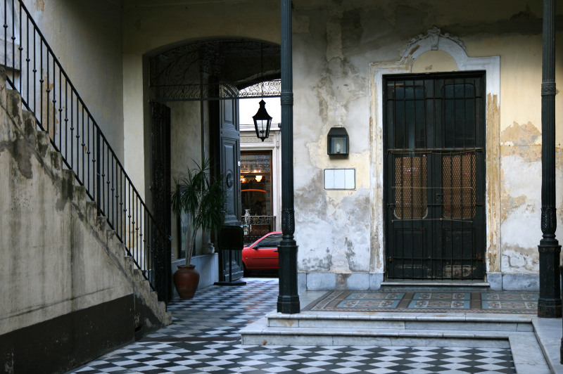 Traditional tiled entryway of house in San Telmo, Buenos Aires