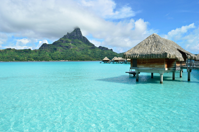 Overwater bungalows in Bora Bora, French Polynesia
