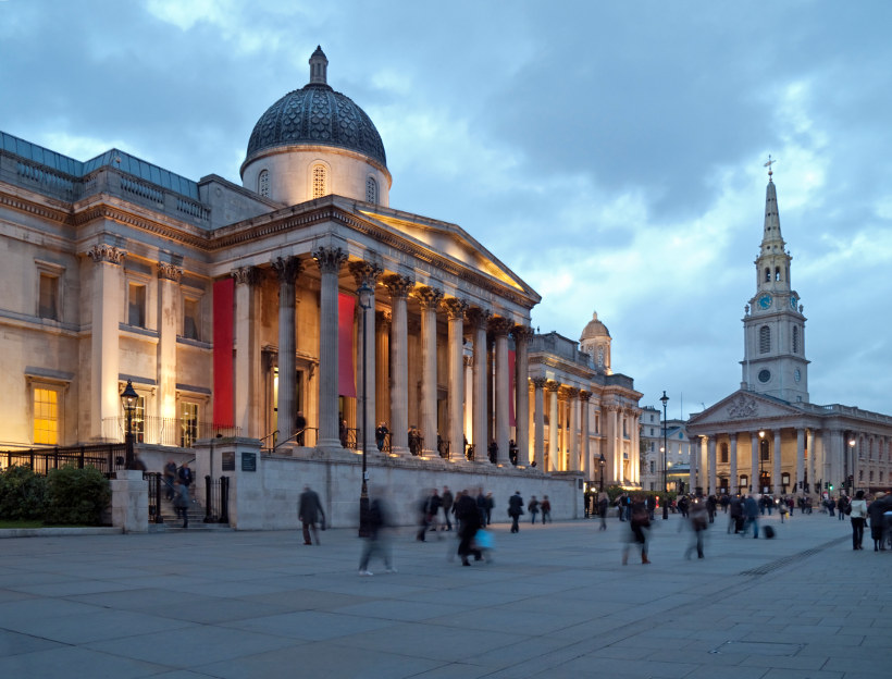 national gallery of London at dusk