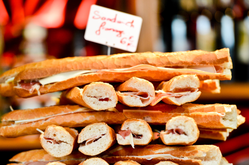 french baguettes with ham and pickle