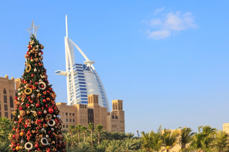 Christmas tree in Dubai with the Burj al Arab behind.