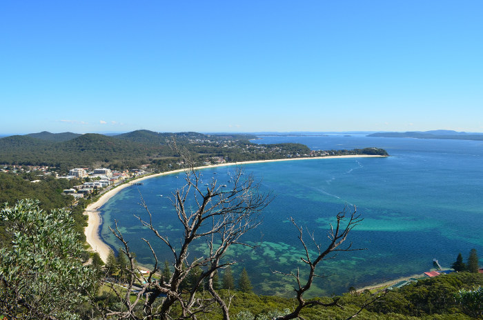 view of port stephens and bay from lookout