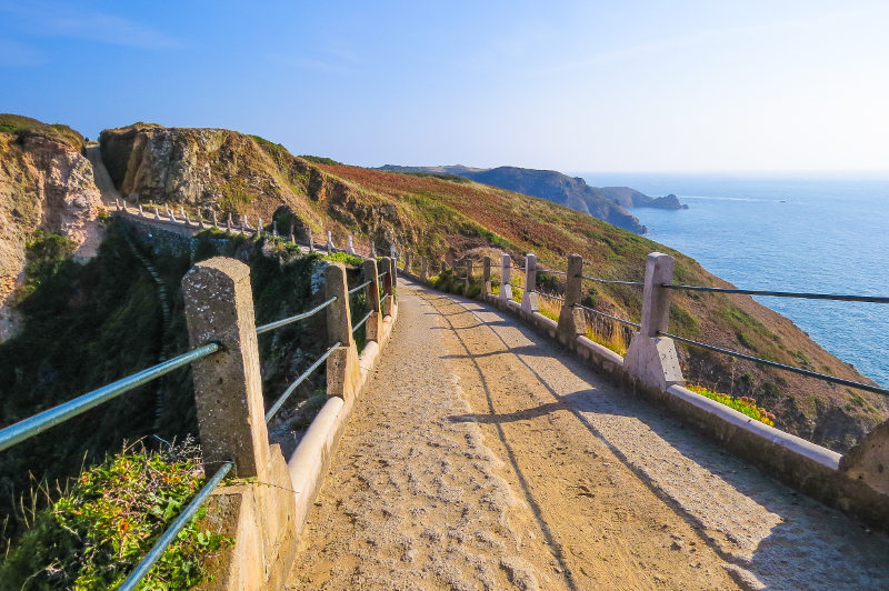 View of isthmus between Great Sark and Little Sark, Channel Islands.