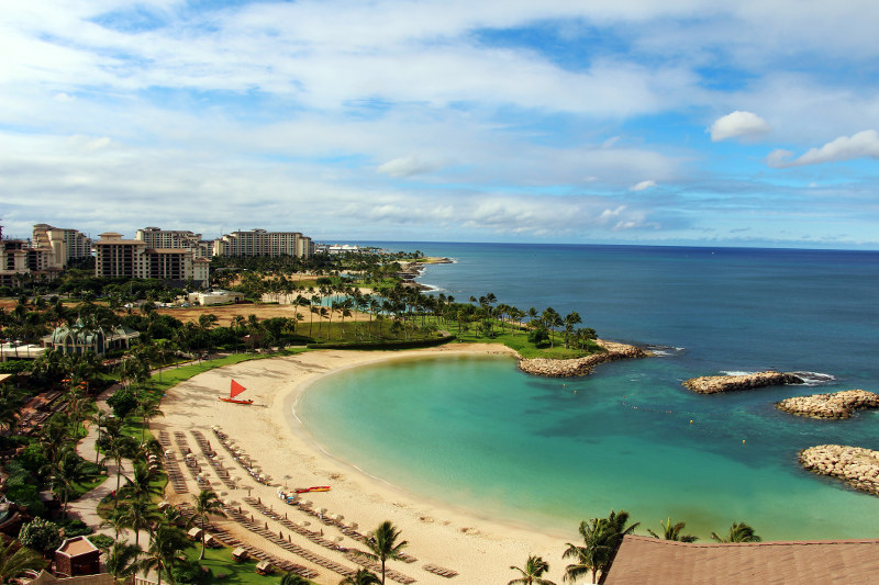 lagoon and bay from hotel room hawaii