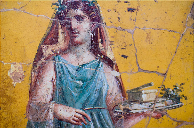 Detail of Roman Fresco found in Pompeii