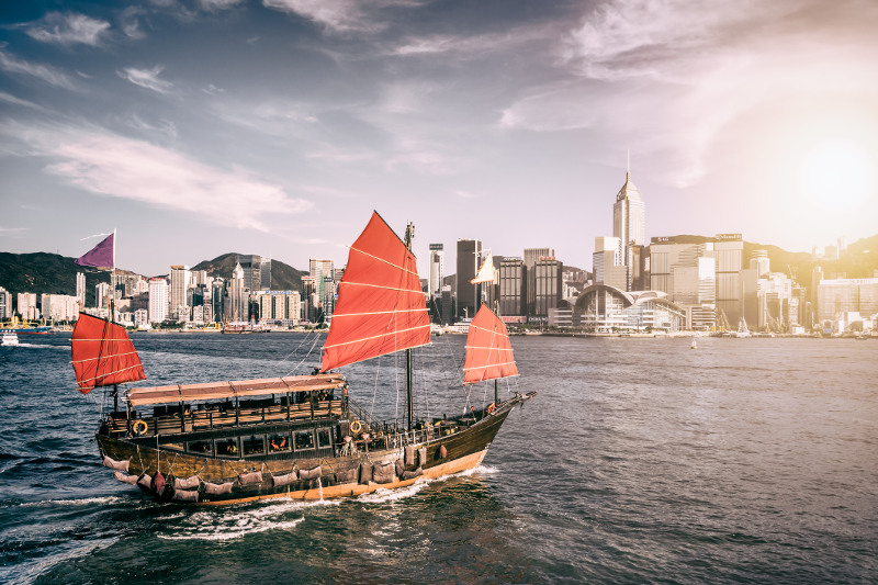 Boat on Hong Kong harbour