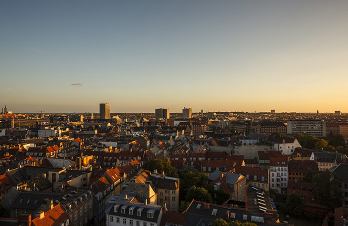 aerial of copenhagen at sunset