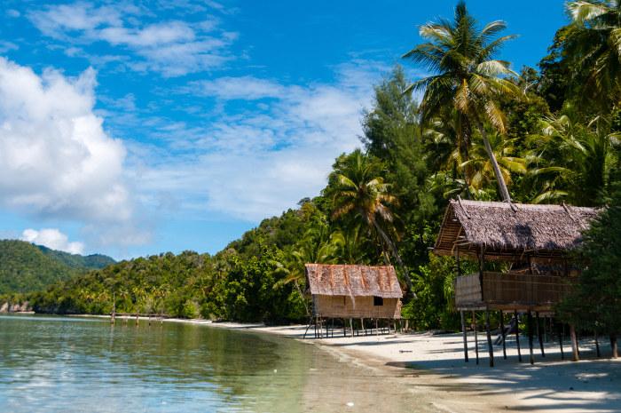 shacks on beach papua new guinea