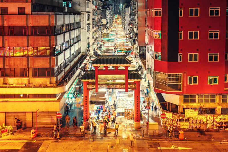 Temple Street at night