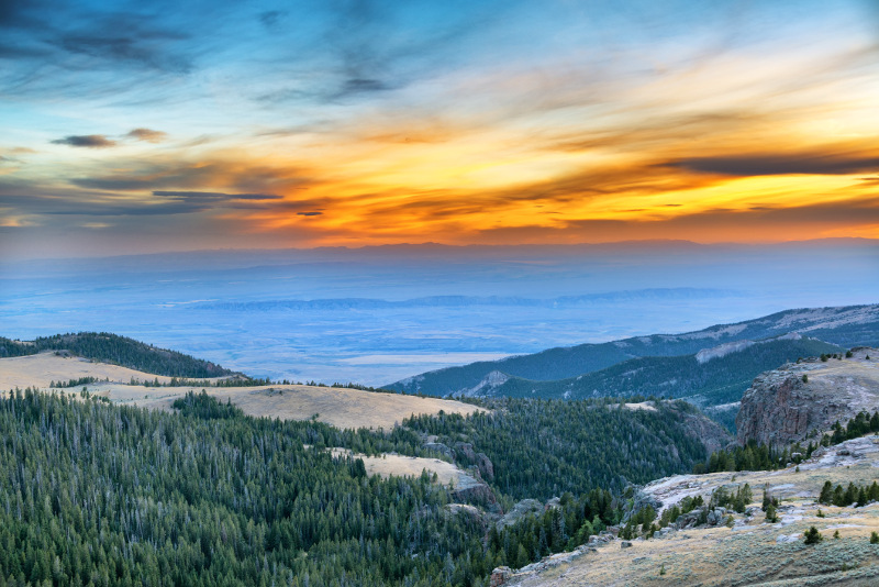 View from the Bighorn Mountains in Wyoming at sunset