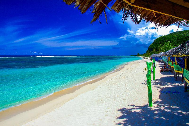 White sand on beach in Samoa