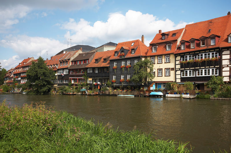17th century houses on river in germany