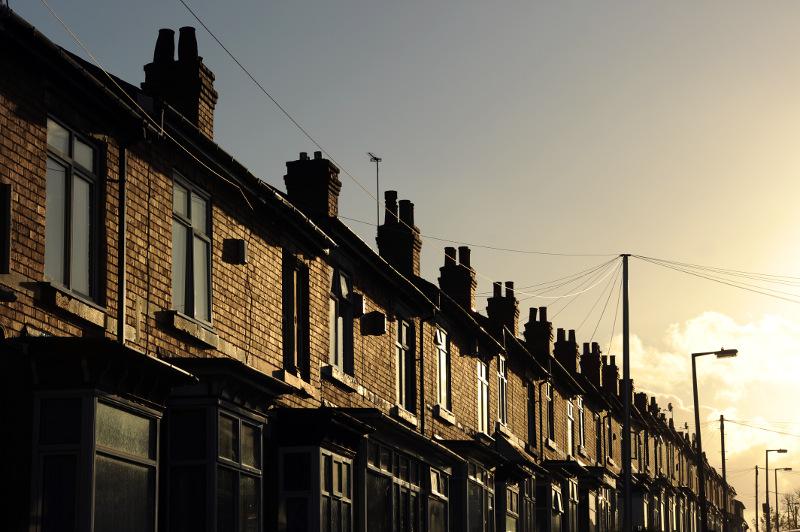 Row of terraced houses in Smethwick, Birmingham, UK