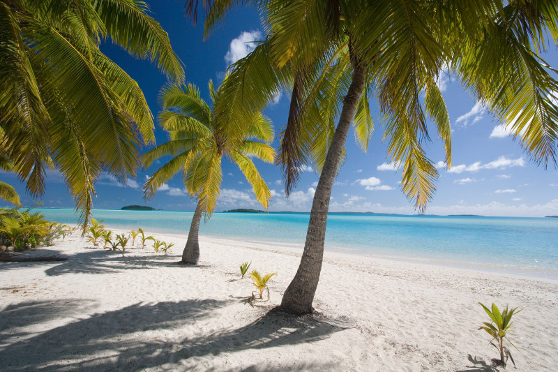 Tropical beach on Aitutaki in Cook Islands
