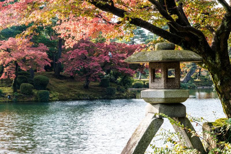 Japanese lantern in a garden