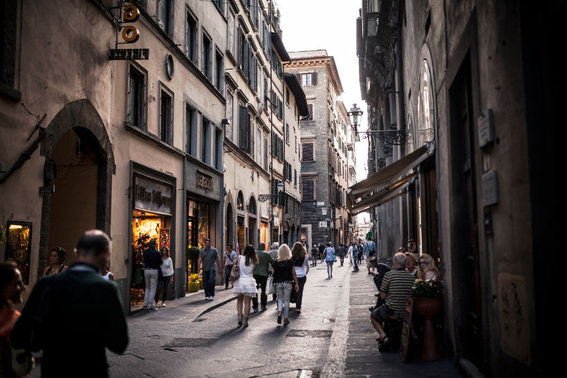 busy shopping street in tuscany italy
