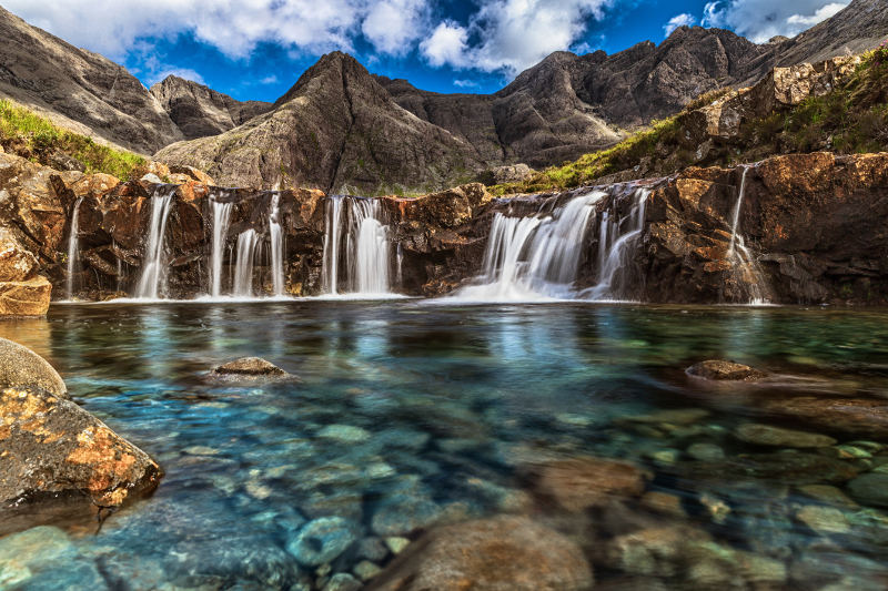 waterfalls into fairy pools on isle of skye, scotland