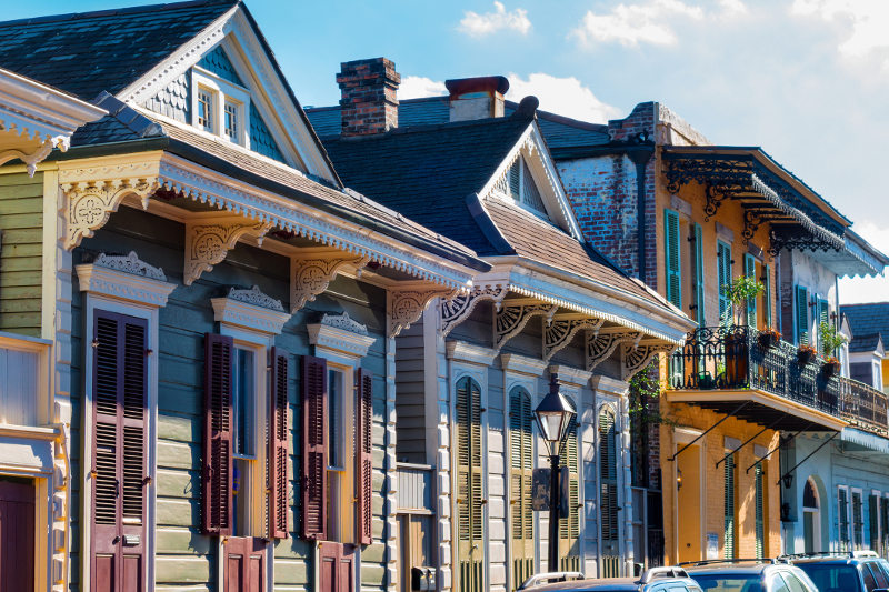 Ornate houses in the French Quarter of New Orleans, Louisiana.