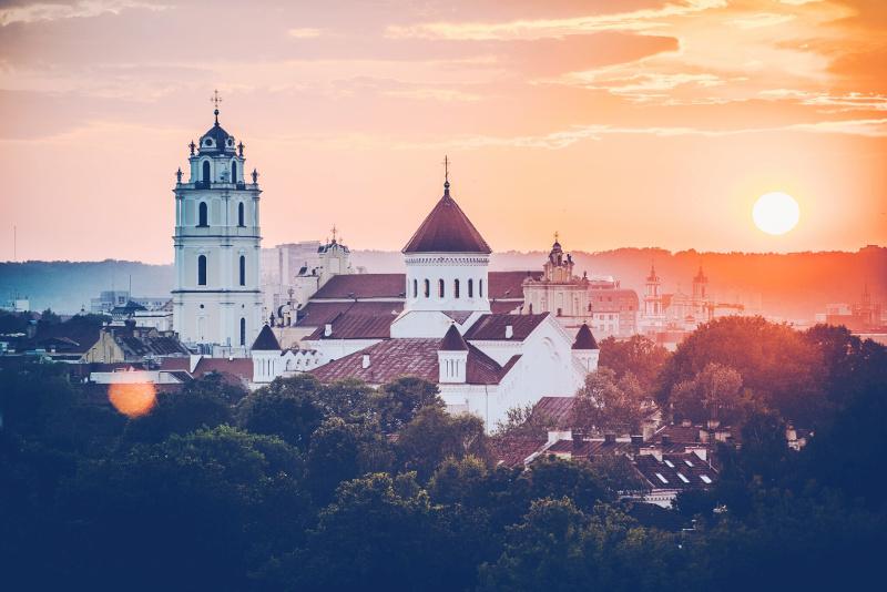 City of Vilnius, Lithuania at dusk.