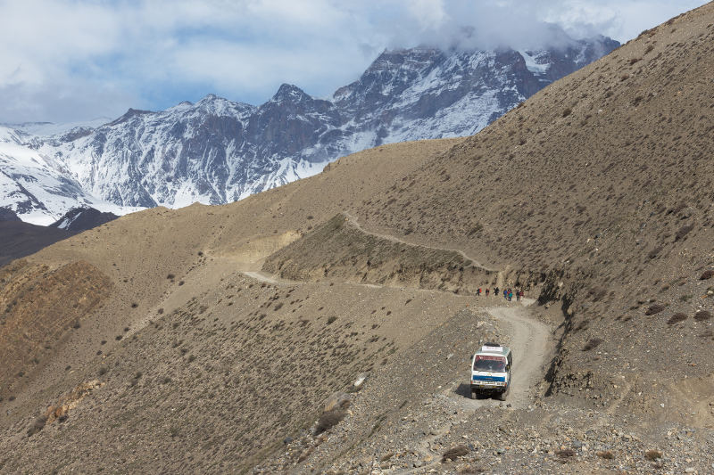 A local bus making it way through the mountains in Nepal.