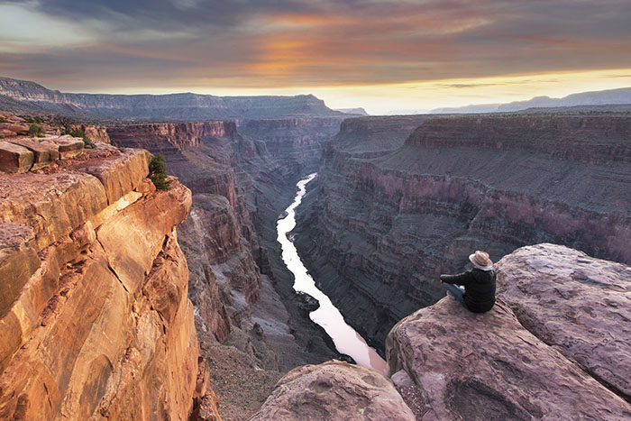 sunrise at Toroweap point on the north rim of the grand canyon