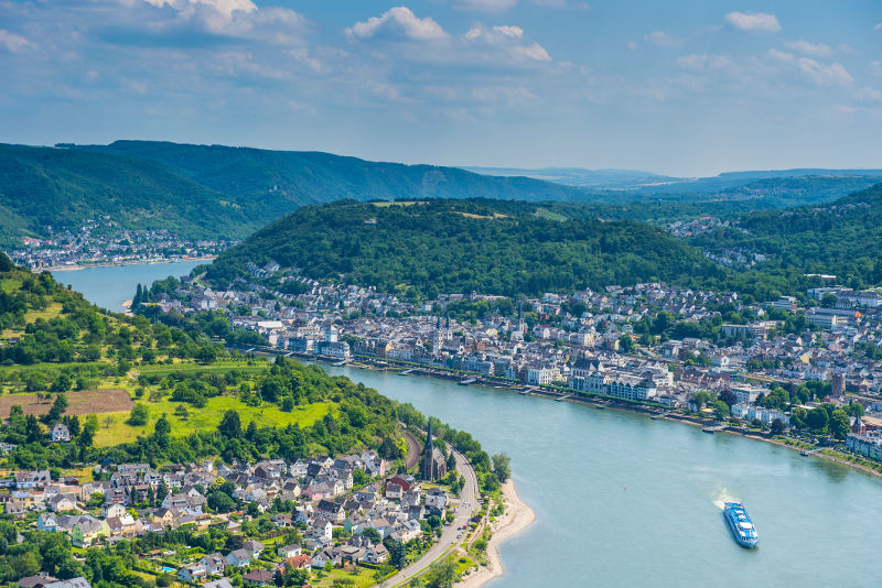 apt cruise ship on rhine river view from above town