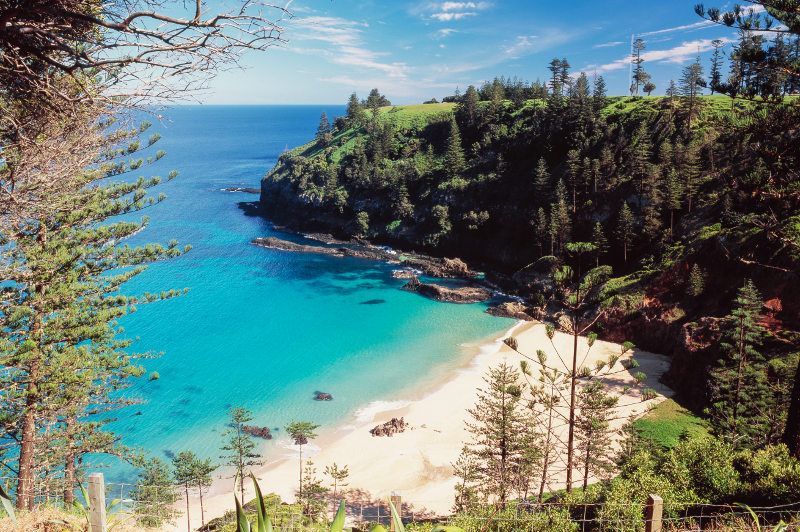Deserted beach on Norfolk Island, Australia
