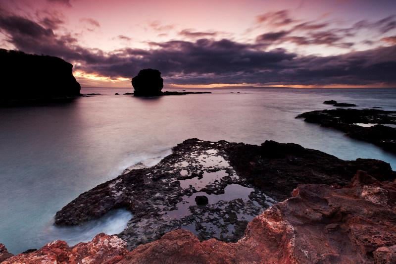 Puu Pehe Sweetheart Rock at Hulopoe Bay.