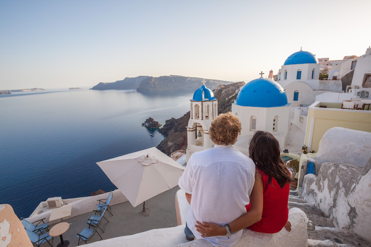Santorini couple sunset