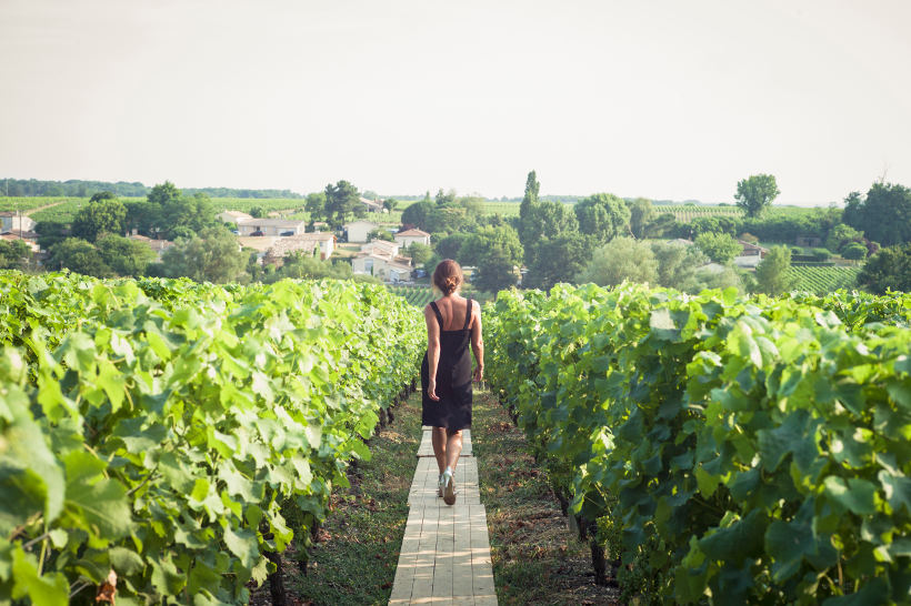 woman in dress and heels walking between vines in vineyard