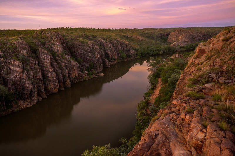 Sunset View of Katherine Gorge From Barrawei Lookout in Nitmiluk National Park.