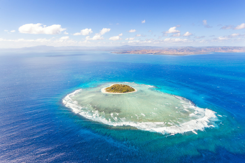 aerial view of tavarua island, fiji, south pacific