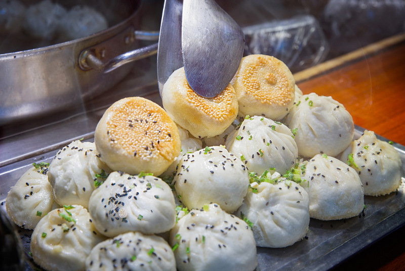 Steaming dumplings ready to be served