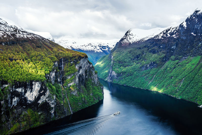 boat in norwegian fjord