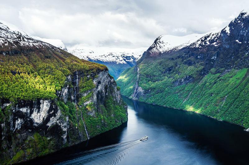 boat in norwegian fjord
