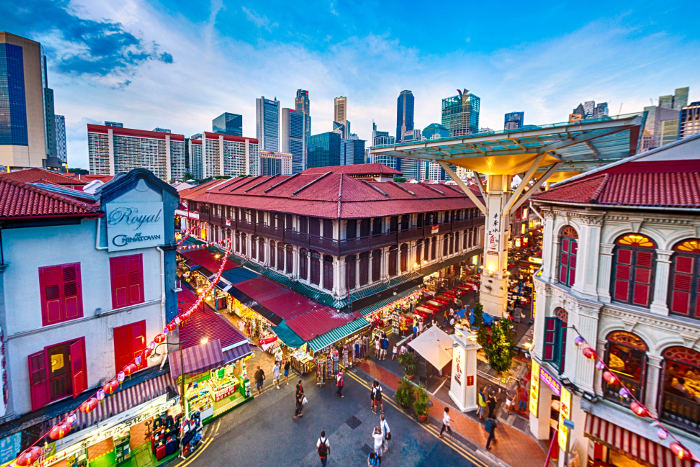 singapore old town at dusk
