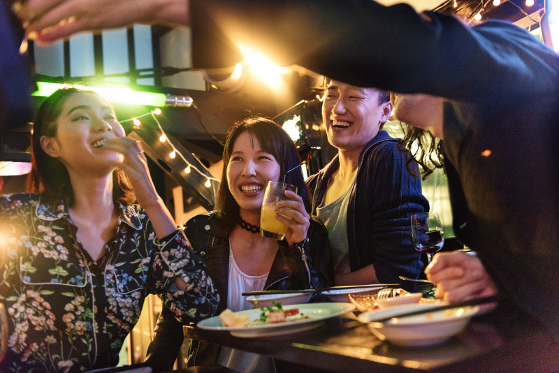 Japanese people at a bar