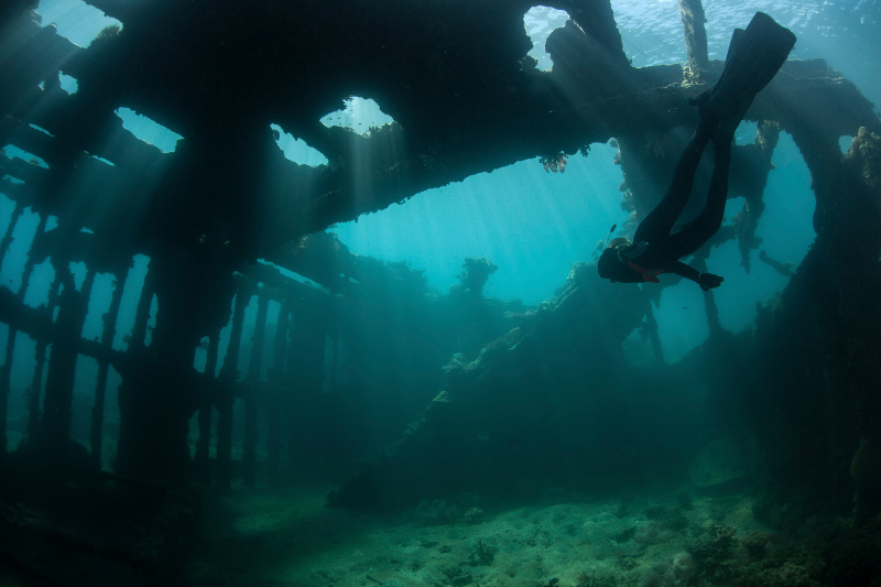 A shallow WWII shipwreck off the island of Guadalcanal