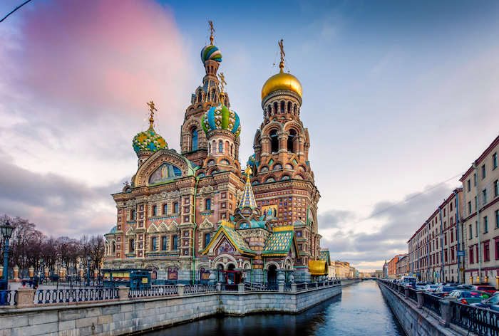 A view of the The Church of the Savior on Spilled Blood over a canal in St Petersburg - 14 romantic travel experiences for valentines day