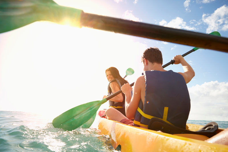 Couple in a sea kayak