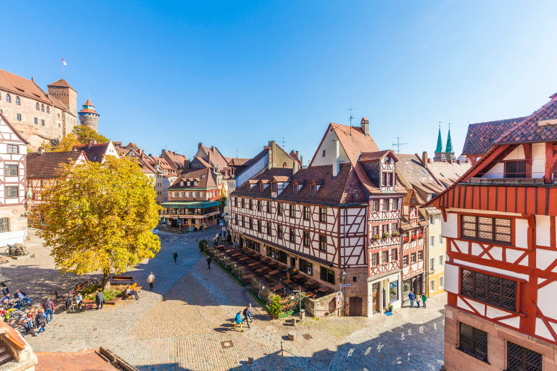 nuremberg main square with half timbered buildings around